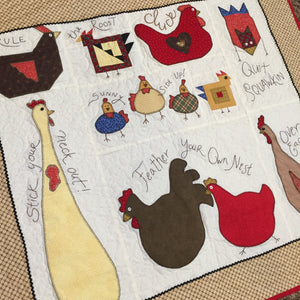 Chicken Chatter Quilt with lots of appliqued chickens and chicken sayings