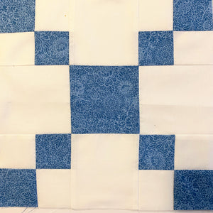 Single Irish Chain Block in White and Blue