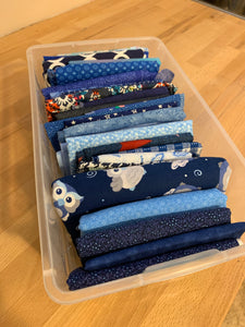 Lovely Blue box of organized fabric