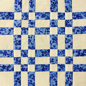 Squares and Stripes Quilt Block in Blue and White