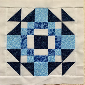 China Doll Block in white, dark blue, and blue