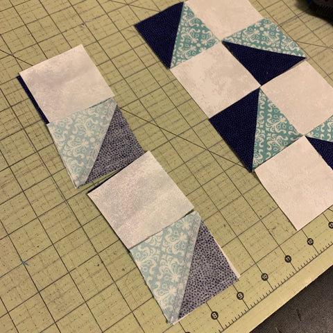 Chain Piecing - fold over the pieces