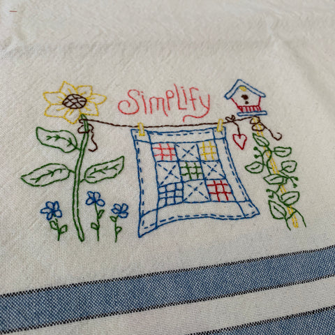 Simplify Tea Towel Embroidery