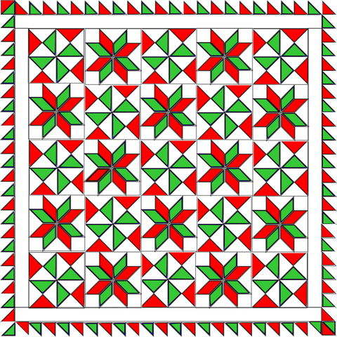 Bombs Bursting Quilt in Red and Green Christmas Colors