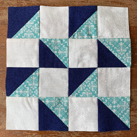 HST block made with Chain piecing