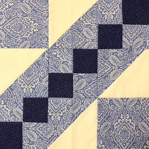 Road to the White House Quilt Block in White and Blue
