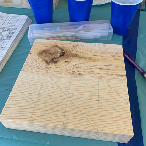 Wooden Block with Pencil Lines