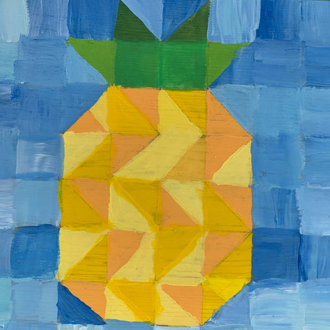 Fuzzy Pineapple Quilt block painting