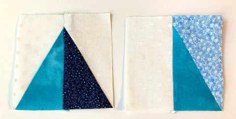 Two half rectangle triangles sewn together to create a square for the Utah Star Block