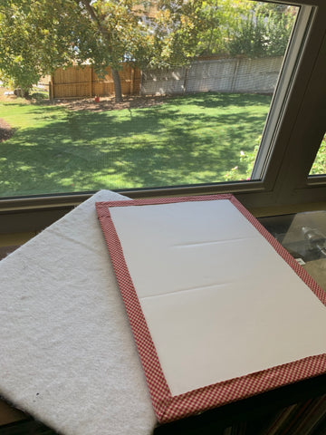 Quilt Block photography helpers - White project boards with a big window on a sunny day