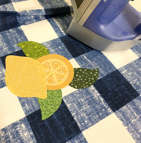Lemon Applique arranged and ready to be ironed on.