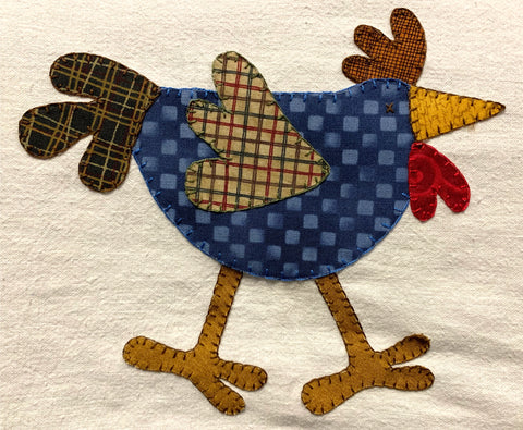 Chicken is all finished. Button hole stitch completed