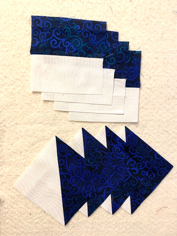 Pieces for the Churn Dash Quilt Block