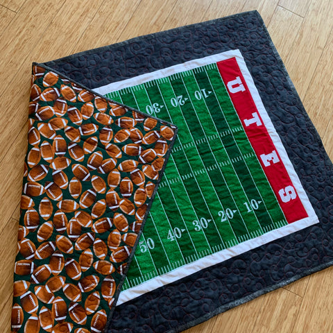 University of Utah Football Field Quilt with Football Print on the back