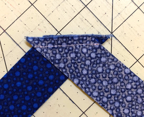 Joined strips of fabric on the diagonal.