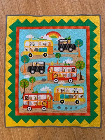 Fun Zoo and Vehicle Print Panel Baby Quilt