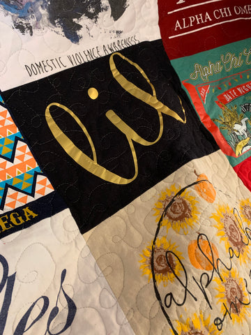 Free motion quilting on a tshirt quilt
