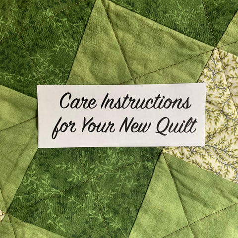 Care Instructions for your new quilt on a quilty background