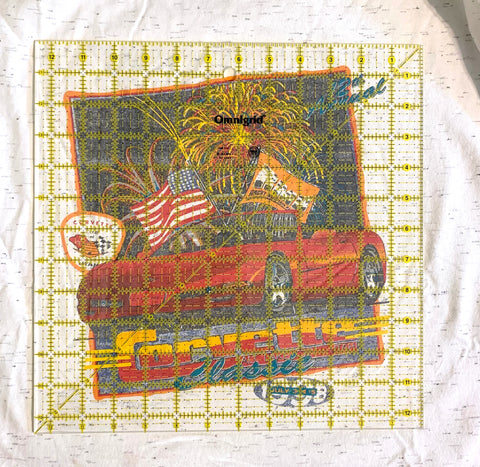 Square template on tshirt quilt