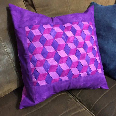 Triple Woven Pillow in Purple, Fushia, and Pink,