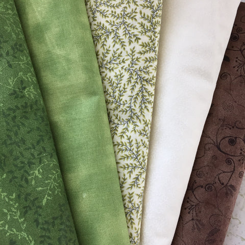 Green, Brown and Cream Fabric for an Irish Chain Quilt