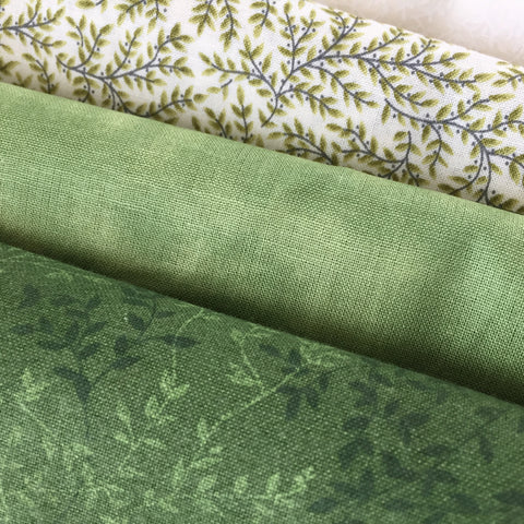 Three Shades of Green fabric for the Irish Pine Tree Quilt