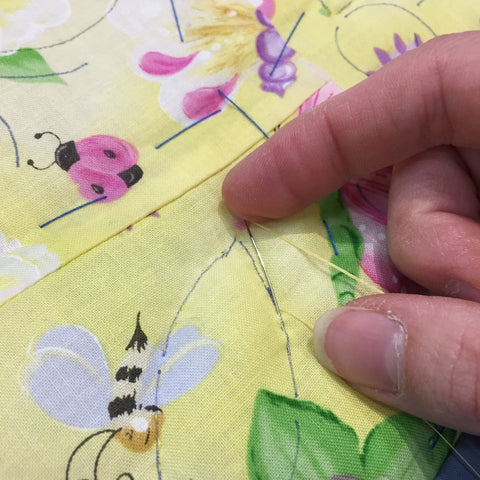 Rocking needle motion while hand quilting.