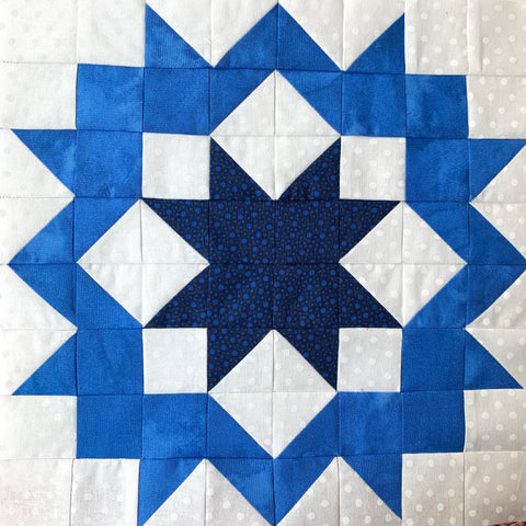 Black Diamond Quilt Block made in blue and white