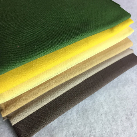 Fabric Selection in Browns, Green, and Yellows