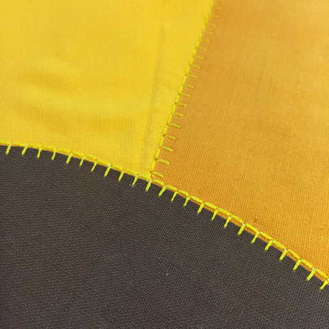 Raw Edge Quilting on Yellow and Brown