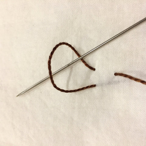 Next step in making a Crow's Feet stitch