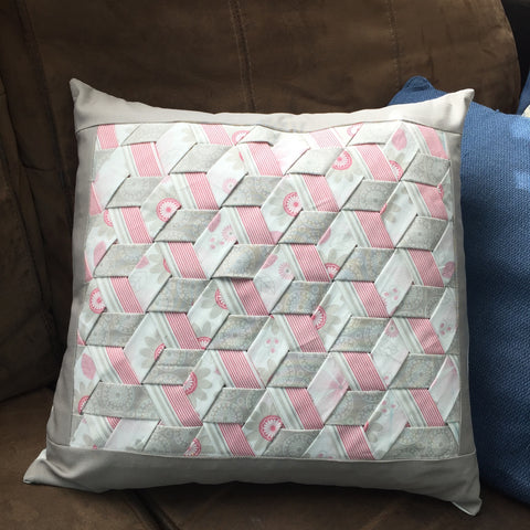 Triple Woven Fabric Pillow in Pink, White and Grey