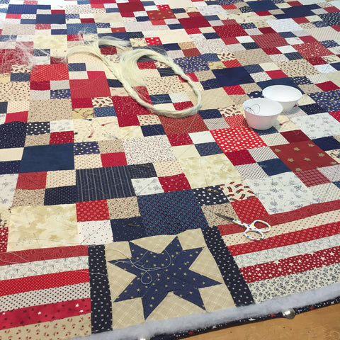 Hand Quilting at the Hospital on at Americana Quilt