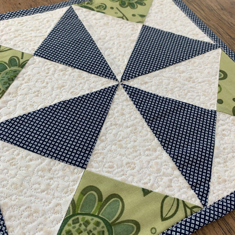 Blue and Green Pin Wheel Mug Rug Mini Quilt