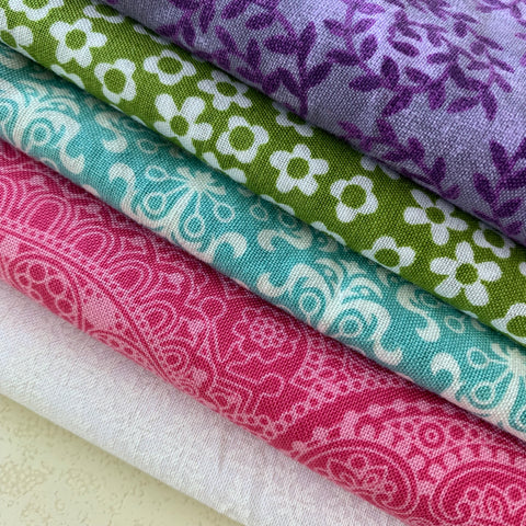 Fabric Selection for card trick mini quilt