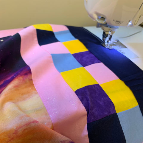 Adding the binding to the Galaxy Quilt