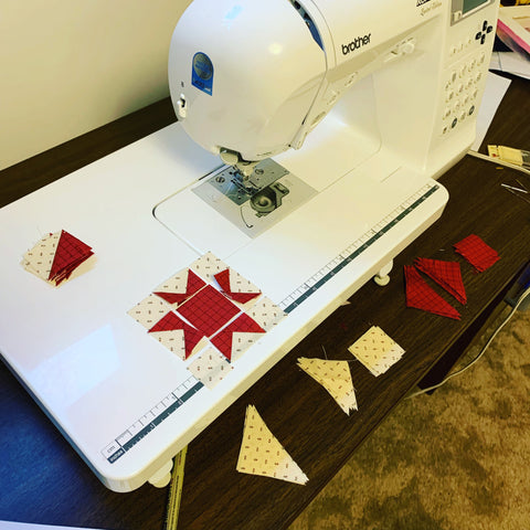 Sewing pieces next to my machine