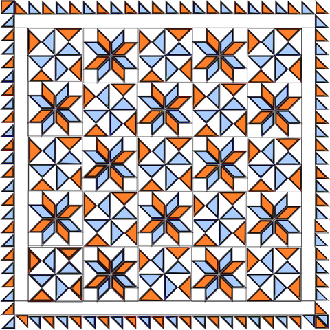 Bombs Bursting Quilt in Orange and Blue