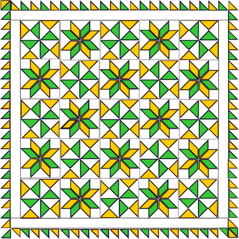 Bombs Bursting quilt in Green and Yellow