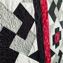 Close Up Not So Tricky Quilt Pattern  in Red, Grey, Black, And White