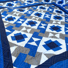 Not So Tricky Quilt Pattern in Blue, Grey, Black, And White