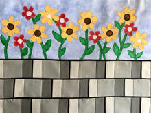 Sunflowers on a brick wall quilt row or quilt block