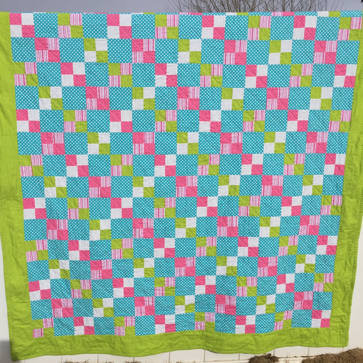 Alana Quilt Pattern - Easy quilt made in squares with pink, teal, white, and green
