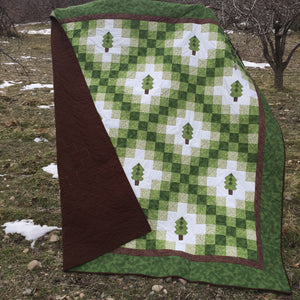 Green Irish Woodland Quilt in an Orchard