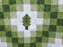 Green Irish Chain Quilt with trees close up