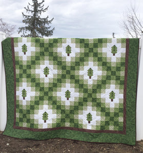 Green Irish Chain Quilt with trees