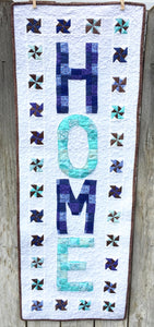 Love At Home Wall Hanging or Mini Quilt made in blue and teal green