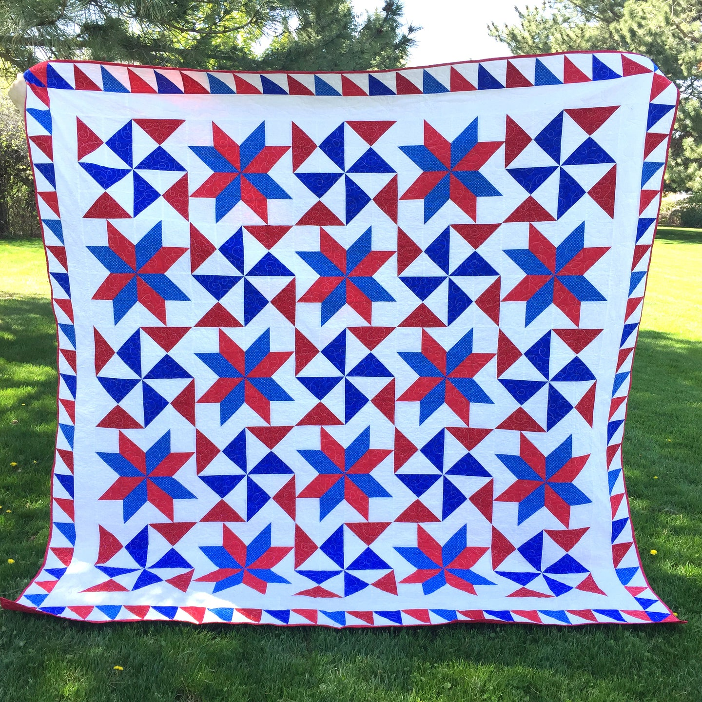 Bombs Bursting Quilt Pattern Digital Download - A Great Patriotic Quilt for Beginners or Intermediate Quilters