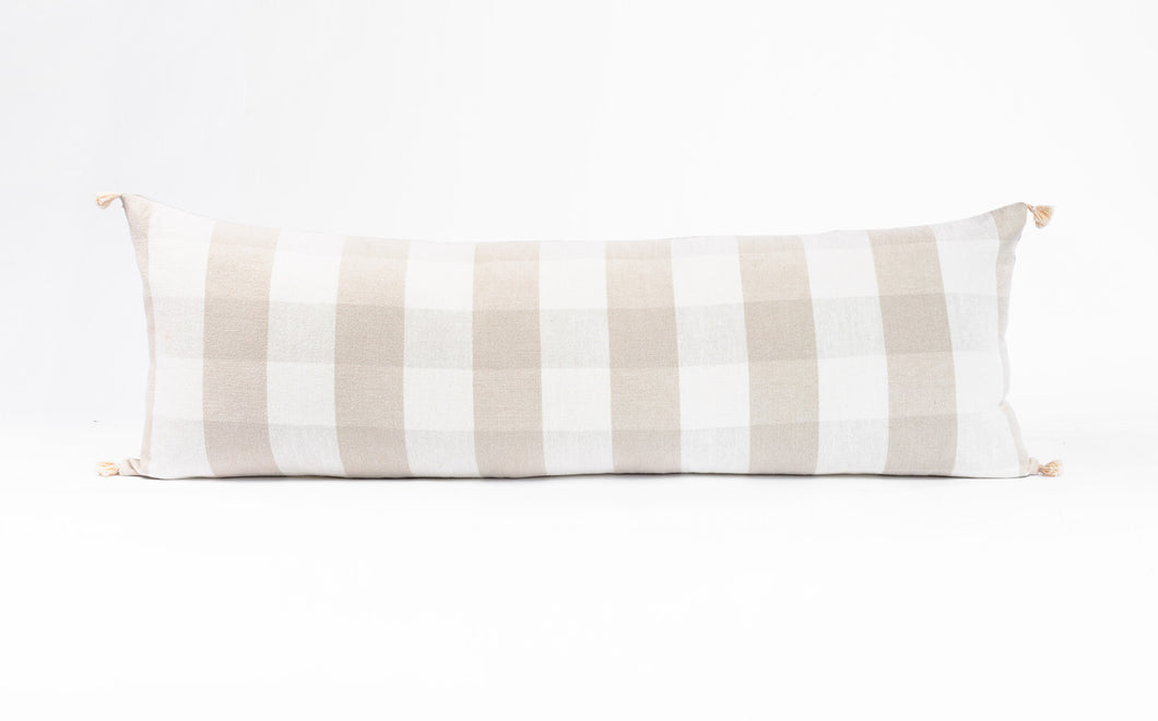 Lumbar Pillow: Oatmeal Check