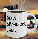Best Grandson Ever - Funny 11oz 15oz Coffee Mug - Great Fun gift idea for BFF, Friend, coworker,Boss, Secret Santa,birthday, Husband,Wife,girlfriend (White)